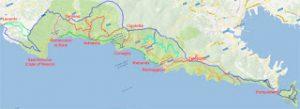 La cartina delle Cinque Terre
